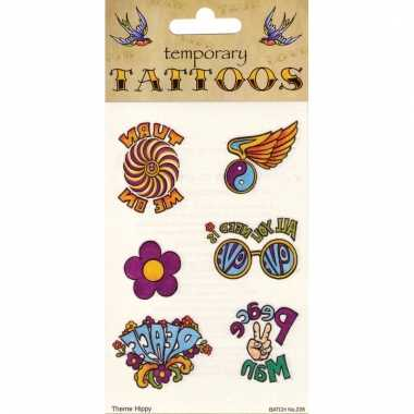 Jaren 60 peace tattoo set
