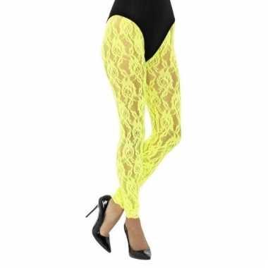 Jaren 80 panty geel kant voor dames