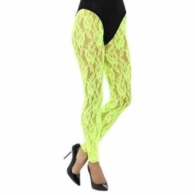 Jaren 80 panty groen kant voor dames