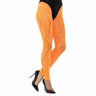 Jaren 80 panty oranje kant voor dames