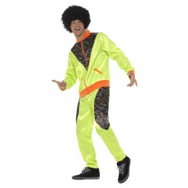 Jaren 80 trainingspak kostuum neon groen