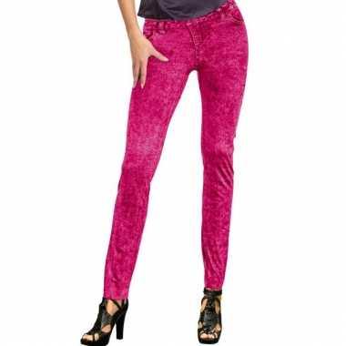 Jeans legging in de kleur roze