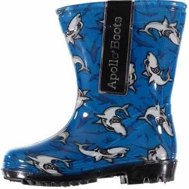 Jongens regenlaarsjes blauw met haaien