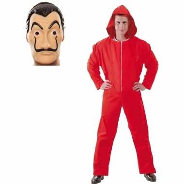 Jumpsuit rood met masker la casa de papel voor heren l