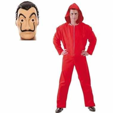 Jumpsuit rood met masker la casa de papel voor heren m
