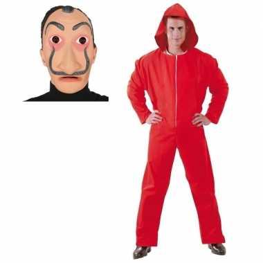 Jumpsuit rood voor heren maat l met masker salvador sali