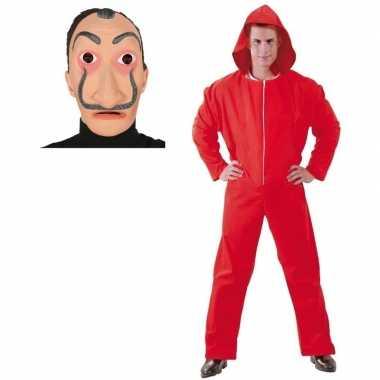 Jumpsuit rood voor heren maat m met masker salvador sali