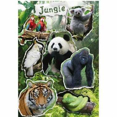 Jungle dieren stickervel met 7 stickers