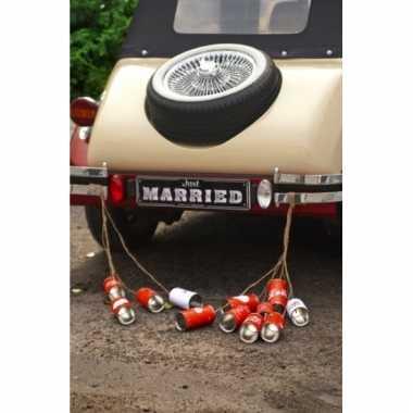 Just married blikjes voor de auto