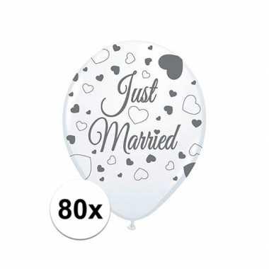 Just married bruiloft versiering balonnen 80x stuks