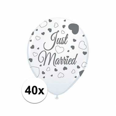 Just marriedbruiloft versiering balonnen 40x stuks