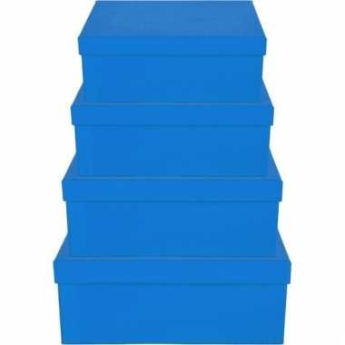 Kado doosjes blauw 21 cm rechthoek