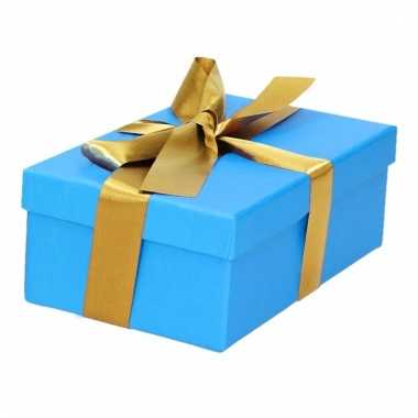 Kado doosjes blauw met gouden strik 15 cm rechthoekig