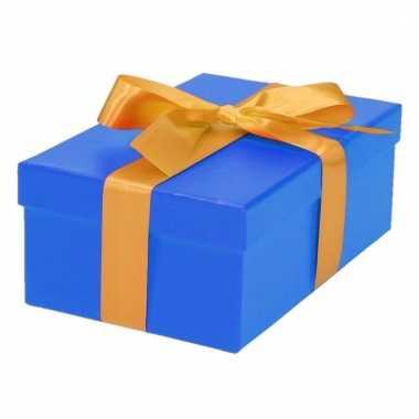 Kado doosjes blauw met gouden strik 17 cm rechthoekig