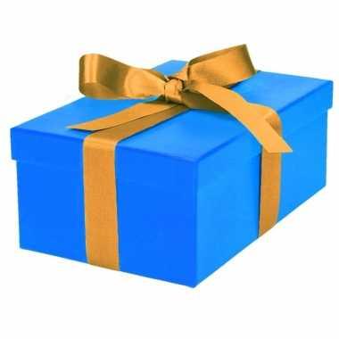 Kado doosjes blauw met gouden strik 21 cm rechthoekig
