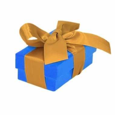 Kado doosjes blauw met gouden strik 8 cm rechthoekig