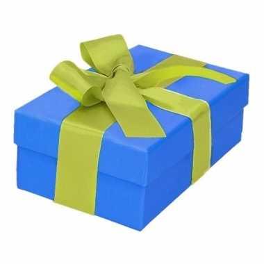 Kado doosjes blauw met lichtgroene strik 13 cm rechthoekig