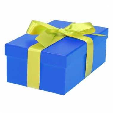Kado doosjes blauw met lichtgroene strik 17 cm rechthoekig