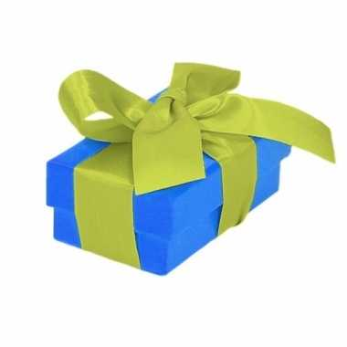 Kado doosjes blauw met lichtgroene strik 8 cm rechthoekig