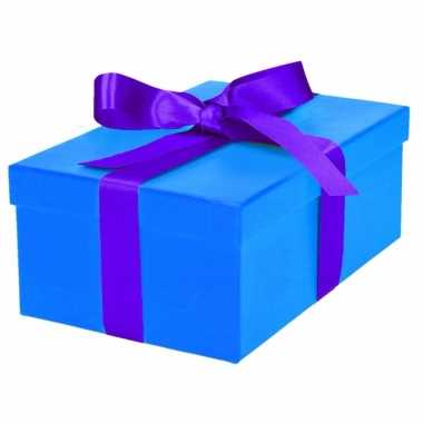 Kado doosjes blauw met paarse strik 21 cm rechthoekig