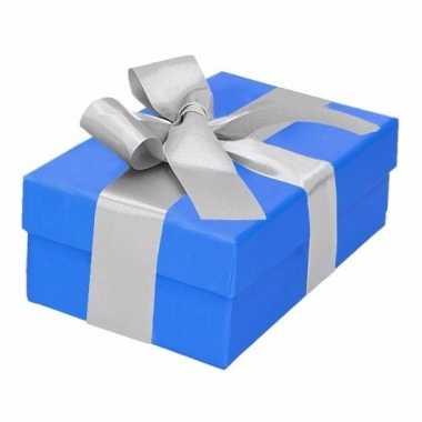Kado doosjes blauw met zilveren strik 13 cm rechthoekig