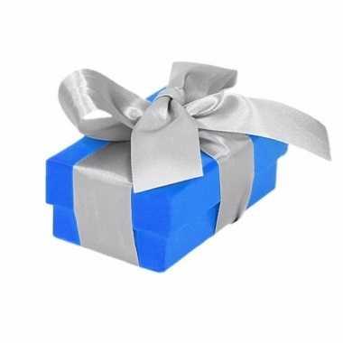 Kado doosjes blauw met zilveren strik 8 cm rechthoekig