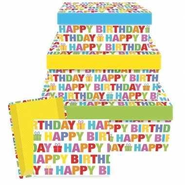 Kado doosjes happy birthday 17,5 cm