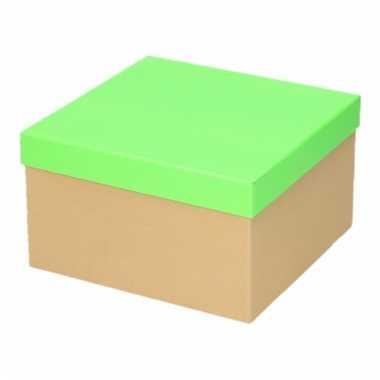 Kado doosjes naturel/neon groen 19 cm rechthoek