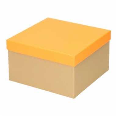 Kado doosjes naturel/neon oranje 19 cm rechthoek