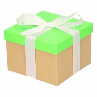Kado doosjes neon groen met witte strik 15 cm vierkant