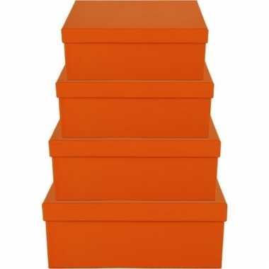 Kado doosjes oranje 19 cm rechthoek