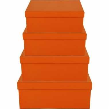 Kado doosjes oranje 21 cm rechthoek