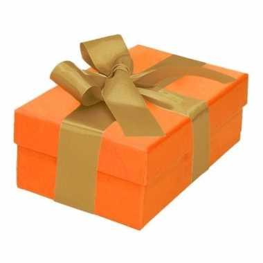 Kado doosjes oranje met gouden strik 13 cm rechthoekig