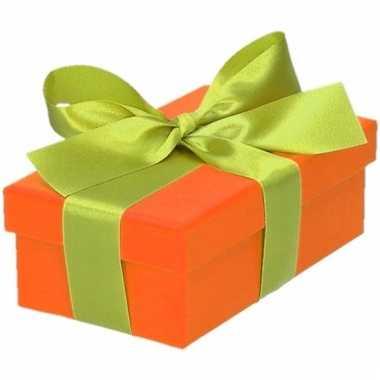 Kado doosjes oranje met lichtgroene strik 10 cm rechthoekig
