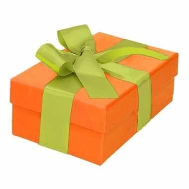 Kado doosjes oranje met lichtgroene strik 13 cm rechthoekig