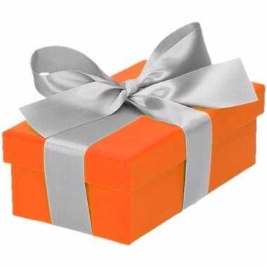 Kado doosjes oranje met zilveren strik 10 cm rechthoekig