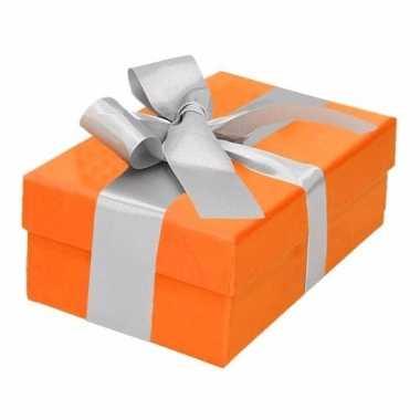 Kado doosjes oranje met zilveren strik 13 cm rechthoekig