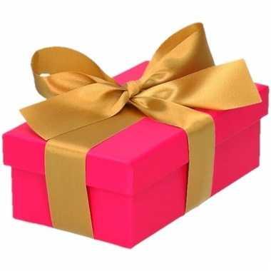 Kado doosjes roze met gouden strik 10 cm rechthoekig