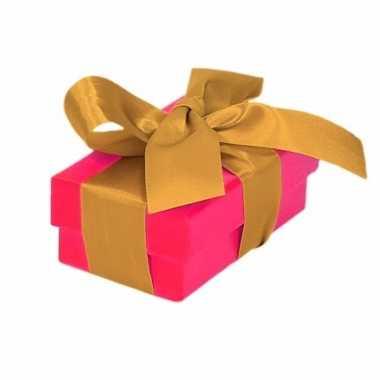 Kado doosjes roze met gouden strik 8 cm rechthoekig