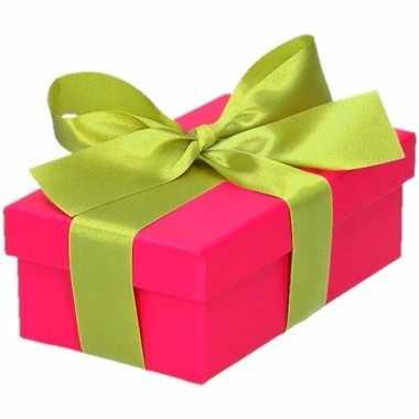 Kado doosjes roze met lichtgroene strik 10 cm rechthoekig