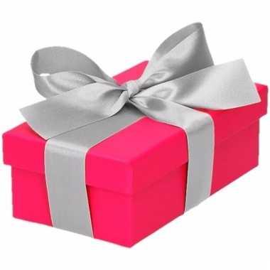 Kado doosjes roze met zilveren strik 10 cm rechthoekig