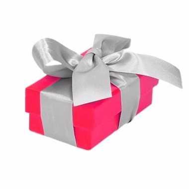 Kado doosjes roze met zilveren strik 8 cm rechthoekig