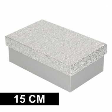 Kado doosjes zilver glitter 15 cm rechthoek