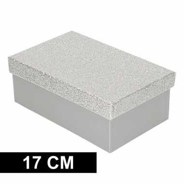 Kado doosjes zilver glitter 17 cm rechthoek