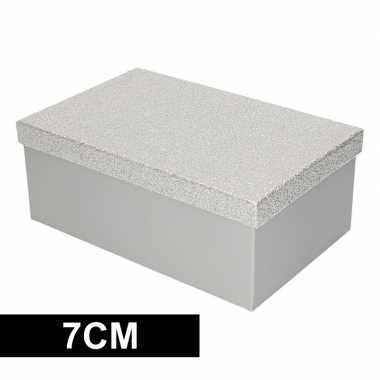 Kado doosjes zilver glitter 7 cm rechthoek