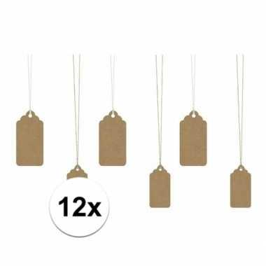Kado labels bruin 12 stuks