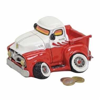 Kado spaarpot truck rood/wit 17 cm