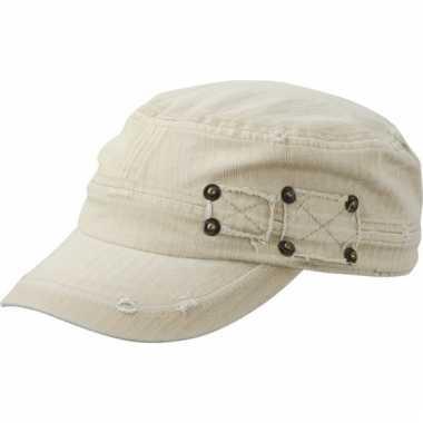 Kaky kleurig leger cap met clip sluiting