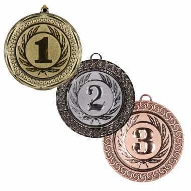 Kampioen medailles set van goud, zilver en brons