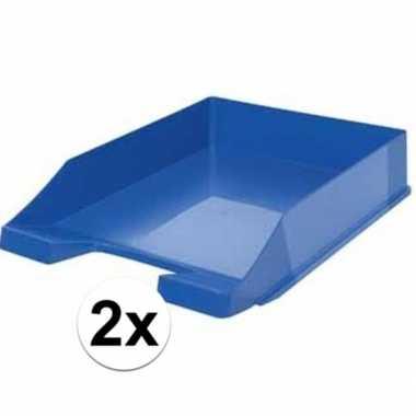 Kantoor postbakje blauw a4 2 stuks